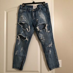 One Teaspoon destroyed jeans with zipper detail